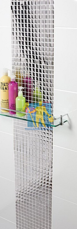 ceramic tile in shower flat gloss white with designer pattern Adelaide