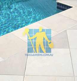 outdoor sandstone tile pool snow white Woodville