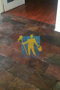 dirty and dull looking slate tiles requires stripping and sealing Woodville South cleaning