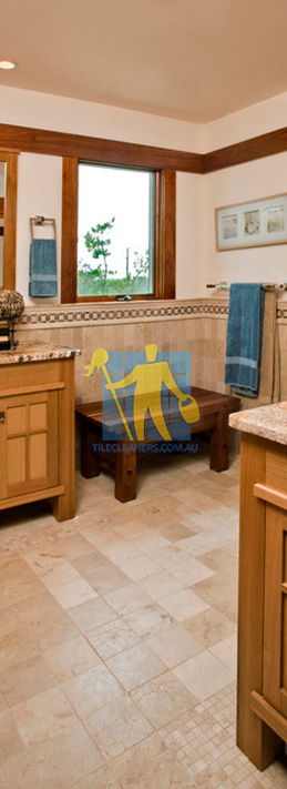 travertine tiles floor bathroom tumbled with mosaic corner wooden cabinets Elizabeth East