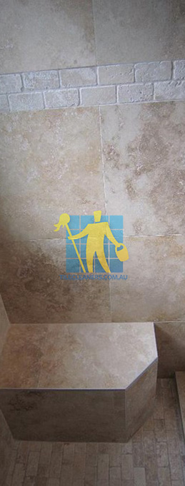 travertine tiles floor wall bathroom natural stone shower with seat Elizabeth East